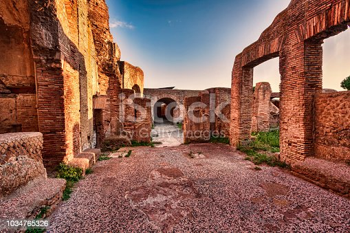 istock Roman Empire ruins s street view of Seven wise men spa in Ancient Ostia - Rome 1034765326