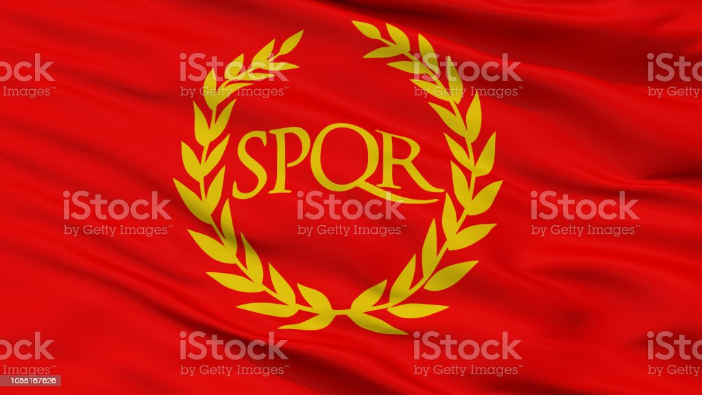 Roman Empire Spqr Flag, Closeup View stock photo