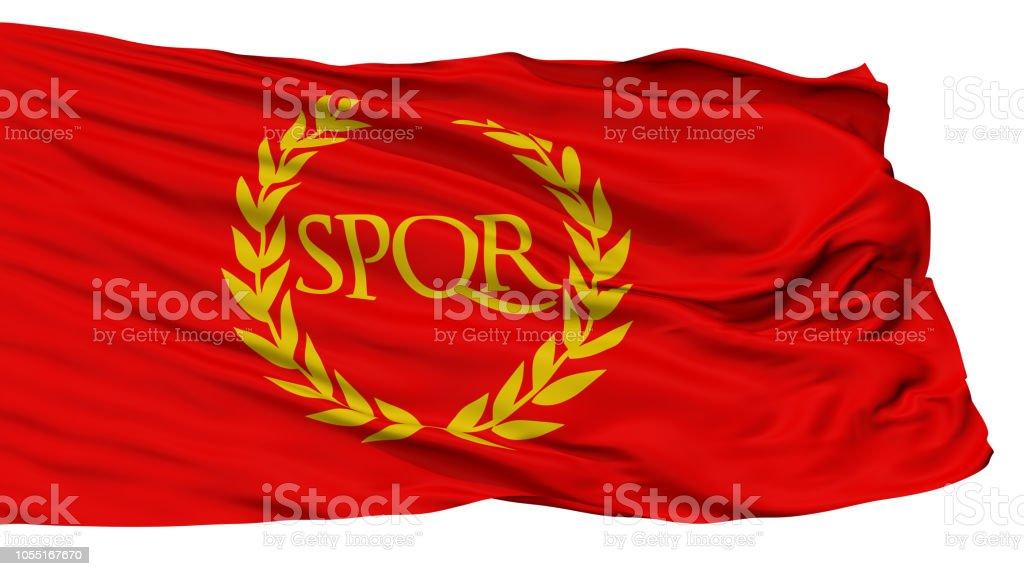 Roman Empire Spqr Flag, Isolated On White stock photo