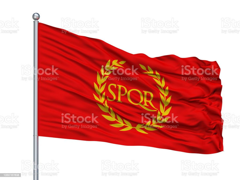 Roman Empire Spqr Flag On Flagpole, Isolated On White stock photo