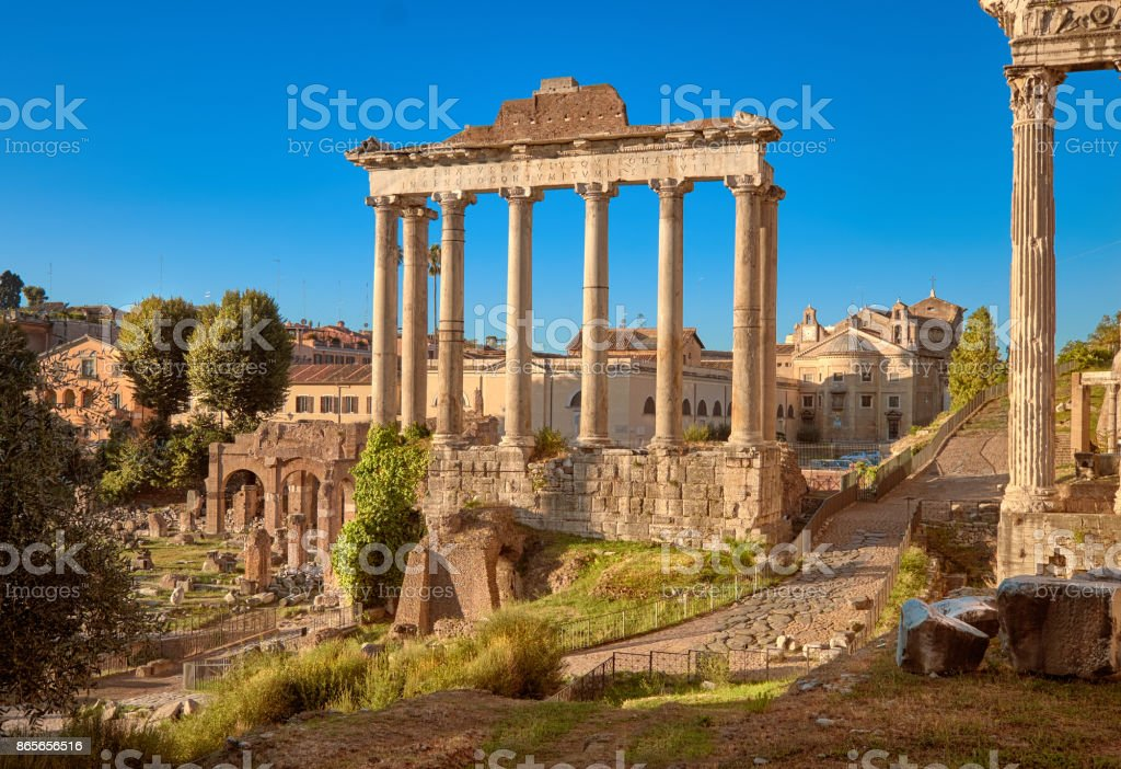 Roman Forum, also known as Forum of Caesar, in Rome, Italy stock photo