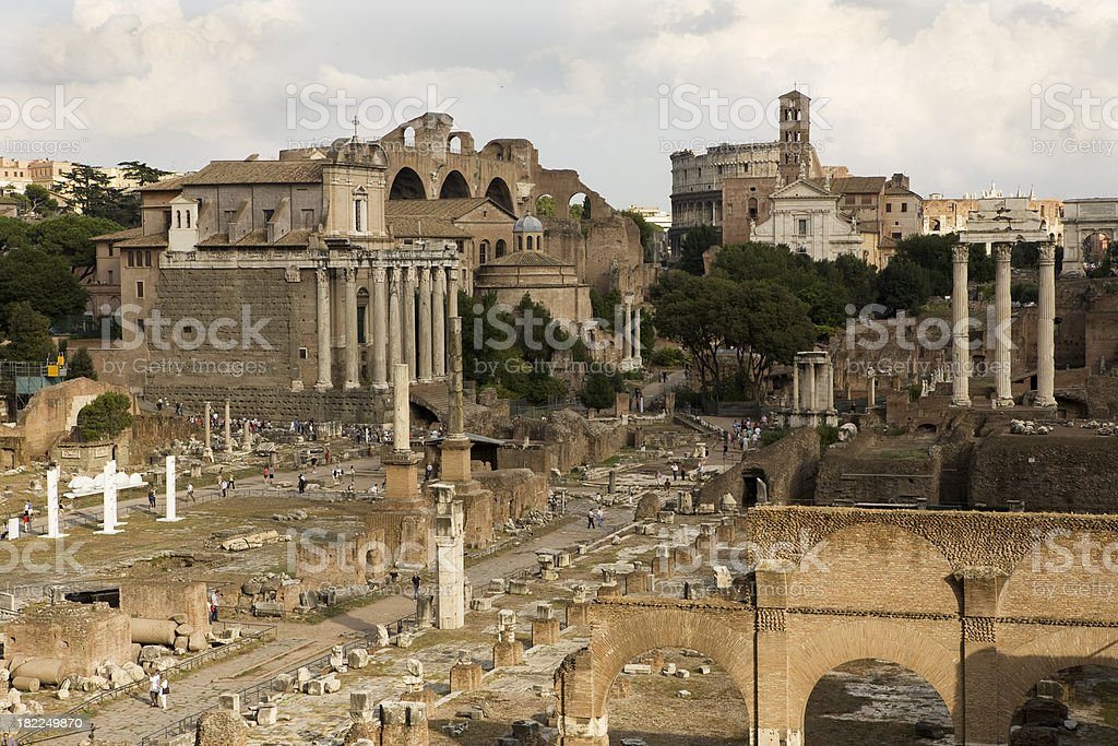 Roman Forum and Temple of the Sun royalty-free stock photo