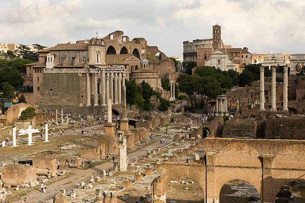 Roman Forum and Temple of the Sun stock photo