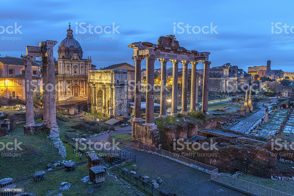Roman Forum at Dusk stock photo