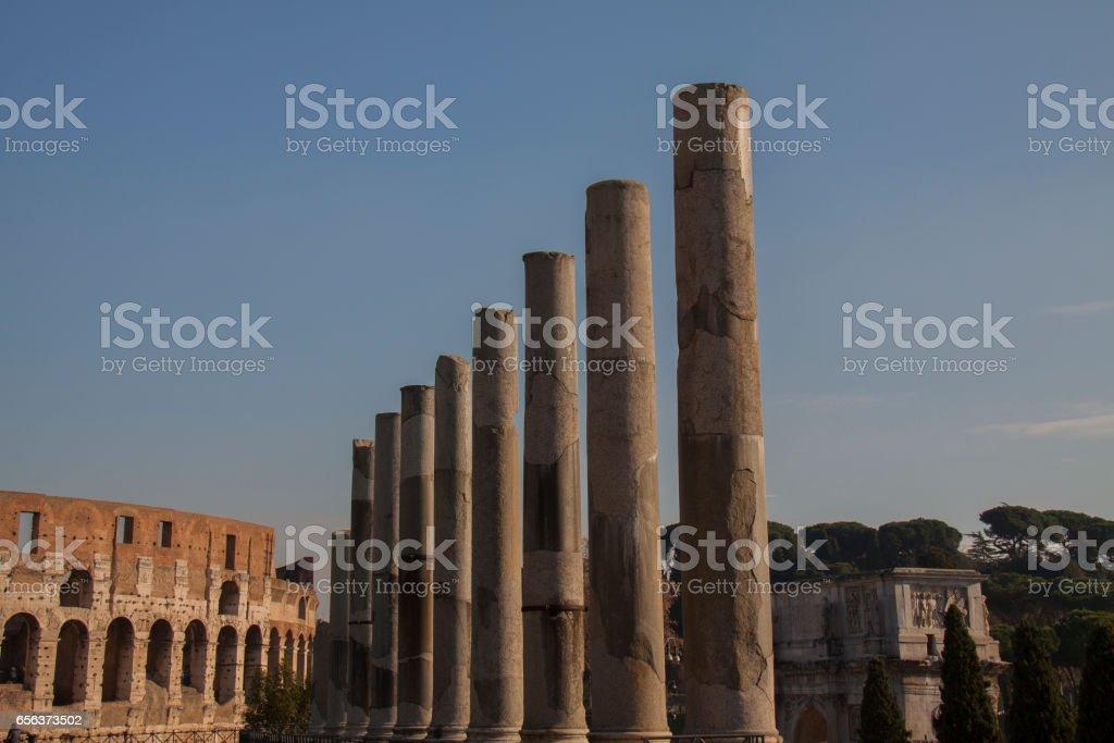Roman Forum, columns stock photo