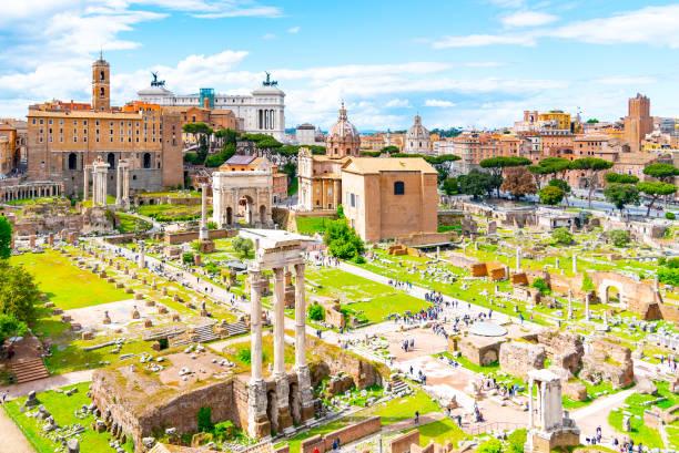 Roman Forum, Latin Forum Romanum, most important cenre in ancient Rome, Italy Roman Forum, Latin Forum Romanum, most important cenre in ancient Rome, Italy. roman forum stock pictures, royalty-free photos & images
