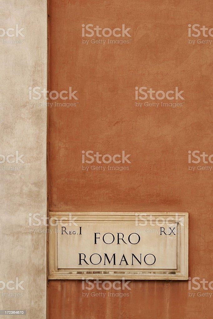 Roman Forum marble sign, Rome Italy royalty-free stock photo