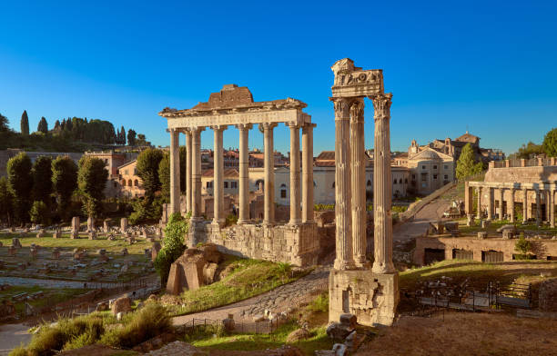 roman forum or forum of caesar, in rome, italy - roman stock photos and pictures