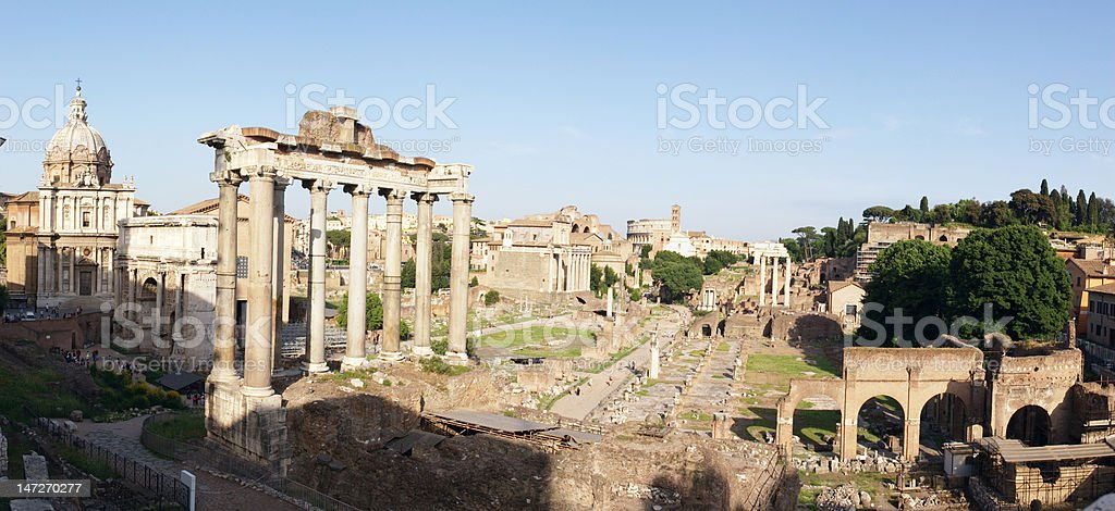 Roman forum panoramic stock photo
