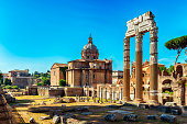 The Temple of Saturn on the Forum Romanum in Rome, Italy.