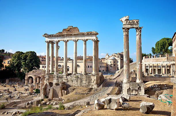 Roman Forum Ancient columns in Rome roman forum stock pictures, royalty-free photos & images