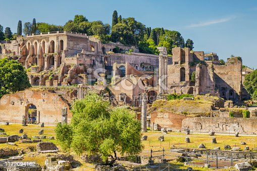 The Roman Forum is a rectangular plaza surrounded by the ruins in Rome, Italy.