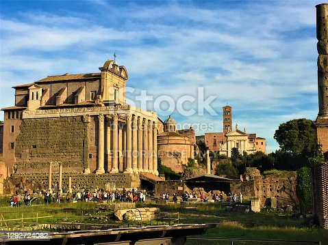 Rome, Italy - October 29 2016: Roman Forum archaeological site and museum