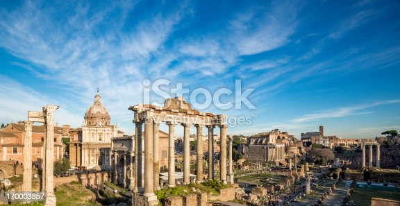 Roman Forum - the Temple of Saturn in the foreground, Rome Italy