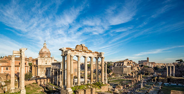 Roman Forum, Rome Italy Roman Forum - the Temple of Saturn in the foreground, Rome Italy roman forum stock pictures, royalty-free photos & images