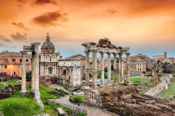 Roman Forum, Rome, Italy Roman Forum at Sunset in Rome, Italy roman forum stock pictures, royalty-free photos & images