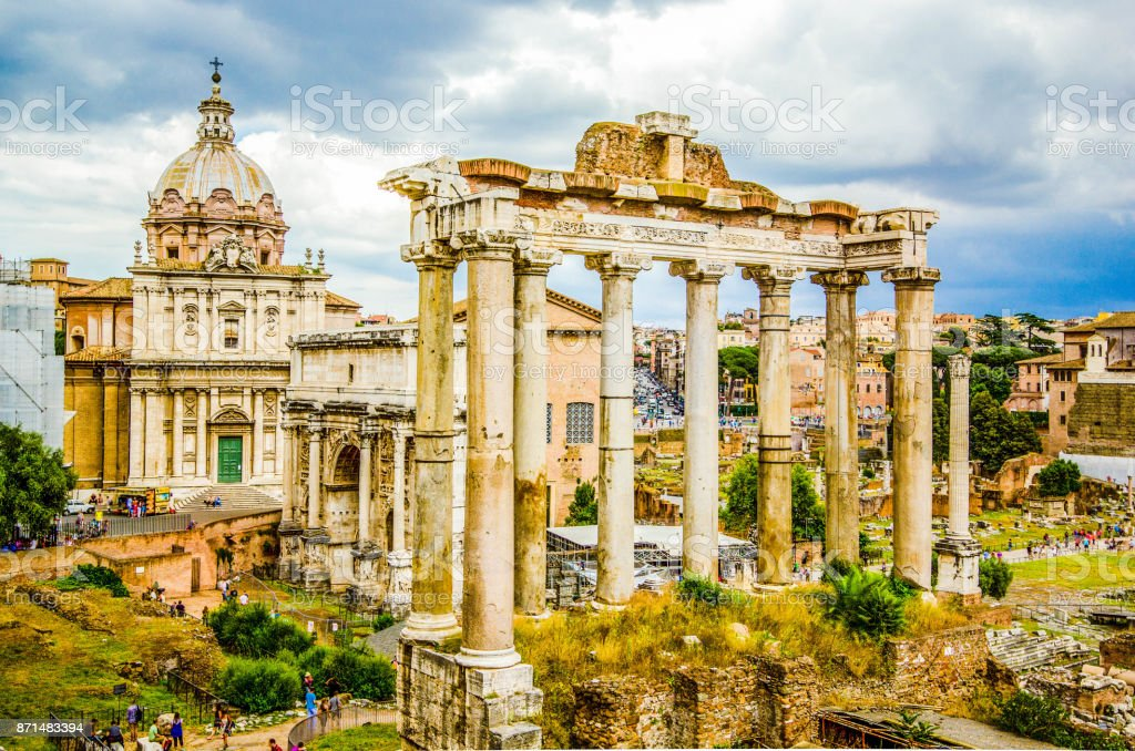 Roman Forum, Rome's historic center, Italy stock photo