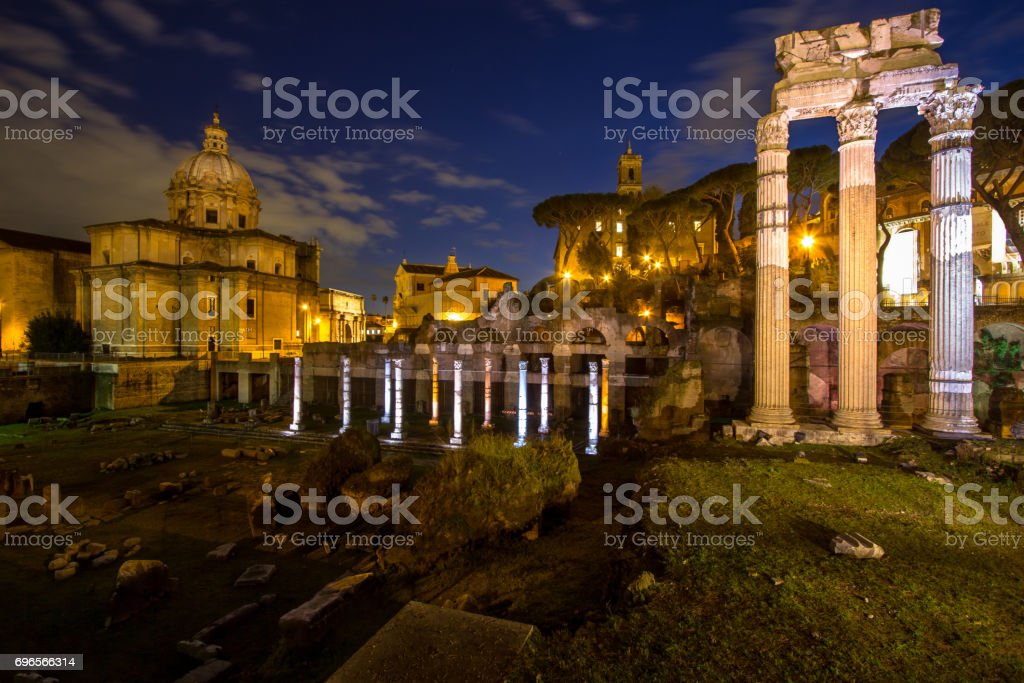 Roman Forum, Trajan's column in Rome stock photo
