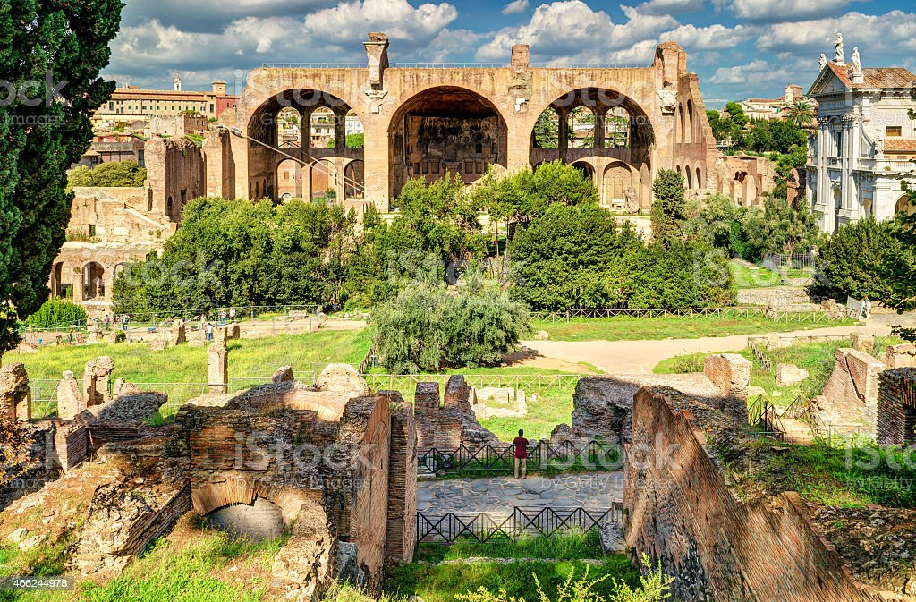 Roman Forum with Basilica of Maxentius and Constantine in Rome stock photo