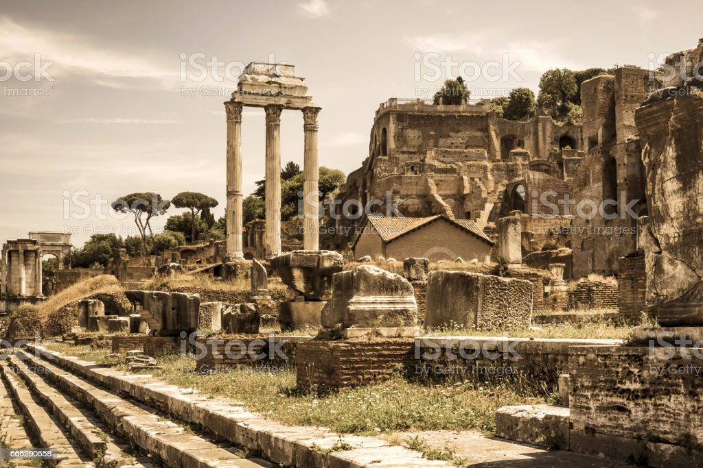 Roman Forum with ruins of Castor & Pollux temple, Rome stock photo