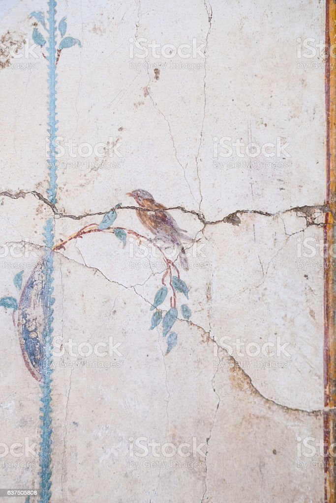 Roman Fresco at Ruins of Pompeii, Campania, Italy stock photo