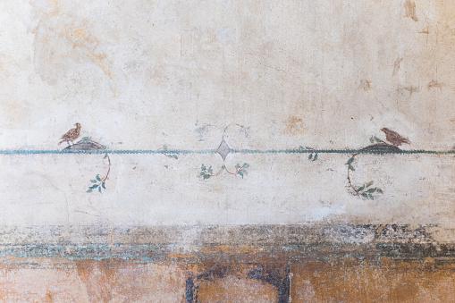 Roman Fresco at Ruins of Pompeii, Campania, Italy