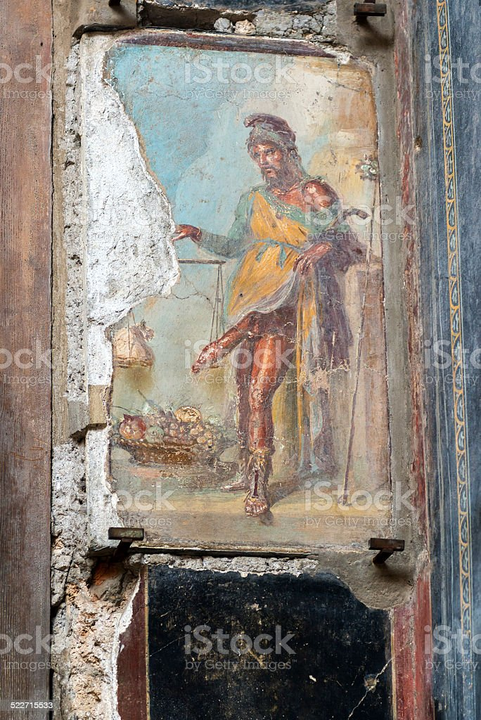 Affresco il dio romano Priapus Pompei, Italia - foto stock