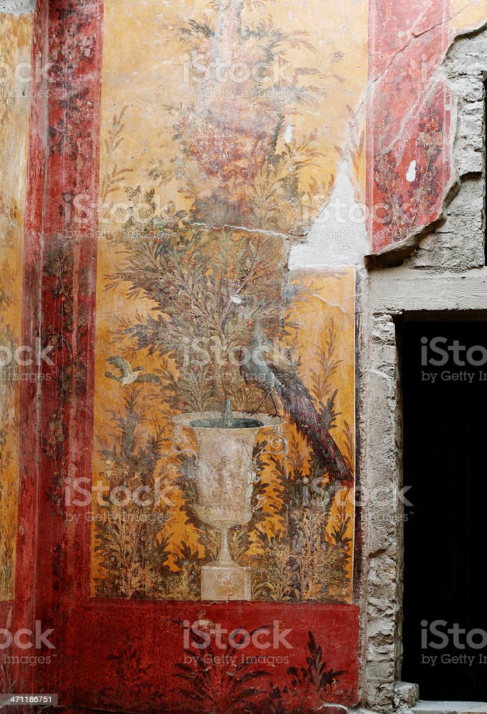 Roman fresco from Poppea's villa in Oplontis stock photo