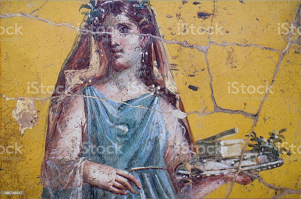 Roman affresco di donna di Pompei - foto stock