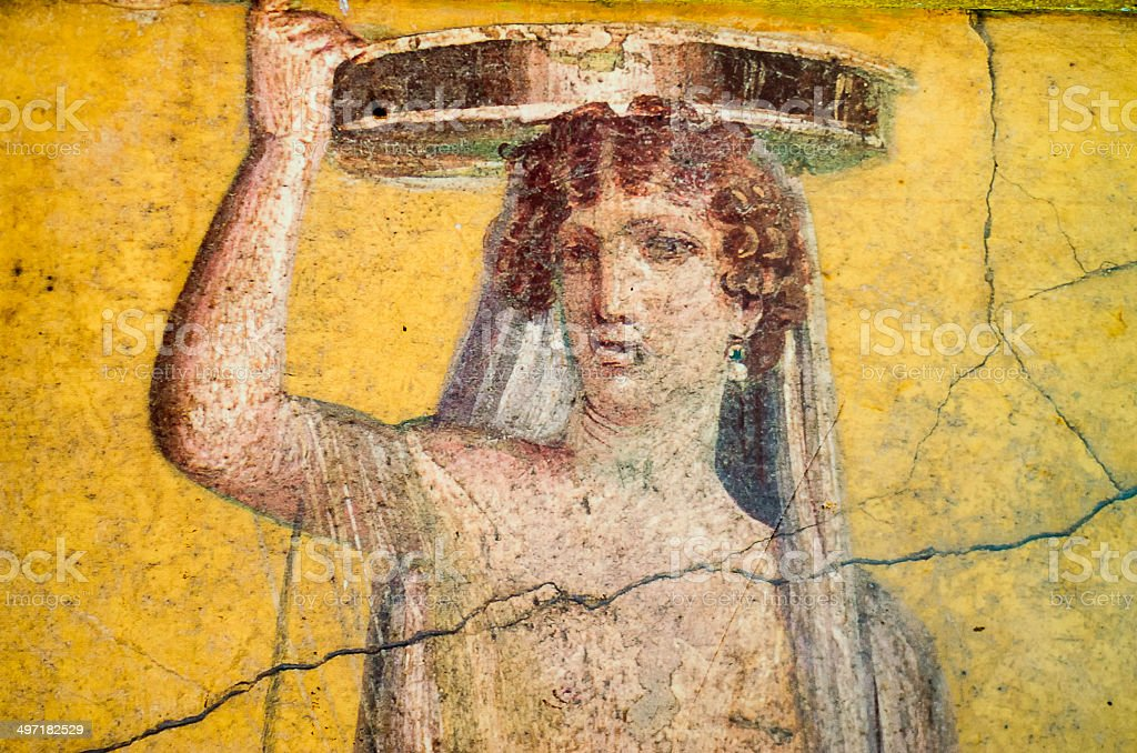 Roman Fresco Of Woman In Pompeii Stock Photo & More Pictures of ...
