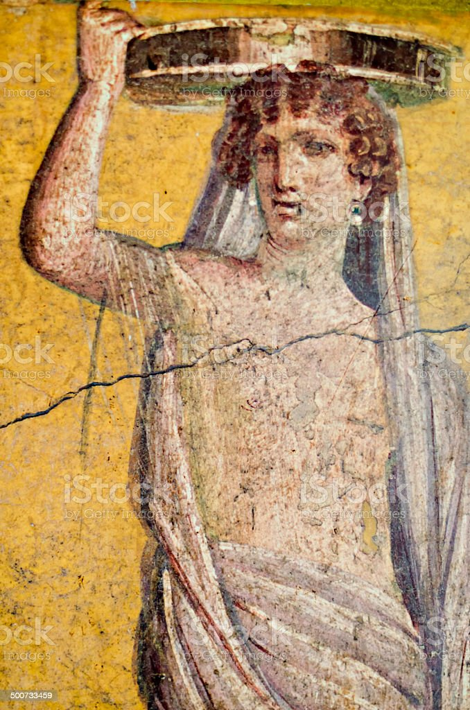 Roman Fresco of woman stock photo