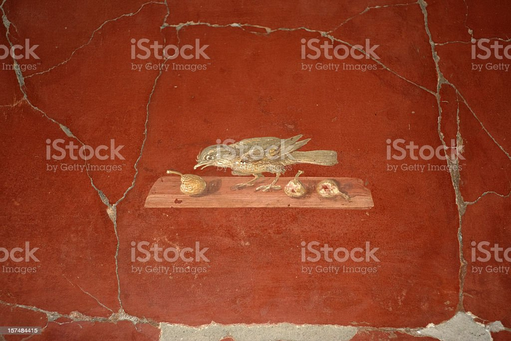 Roman fresco in Oplontis villa stock photo