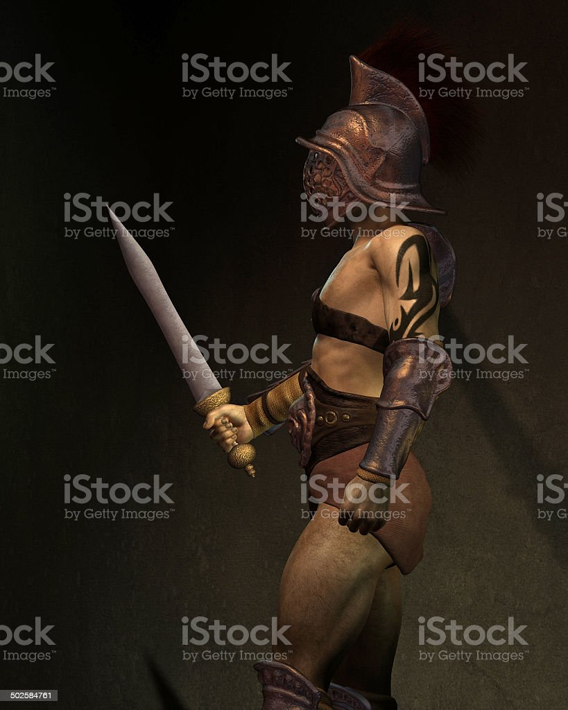 Roman Gladiator in the Shadows, Side View stock photo