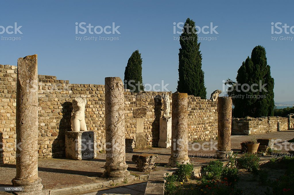 Roman Housing at Carthage stock photo