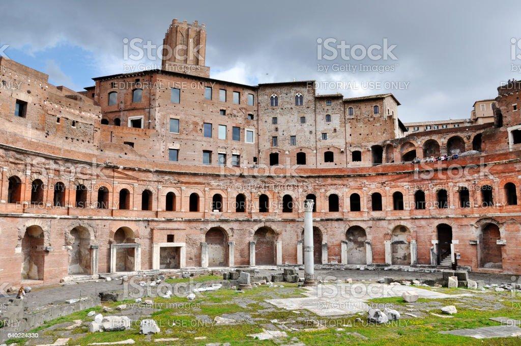 Roman Imperial forum of Emperor Trajan in Rome, Italy stock photo