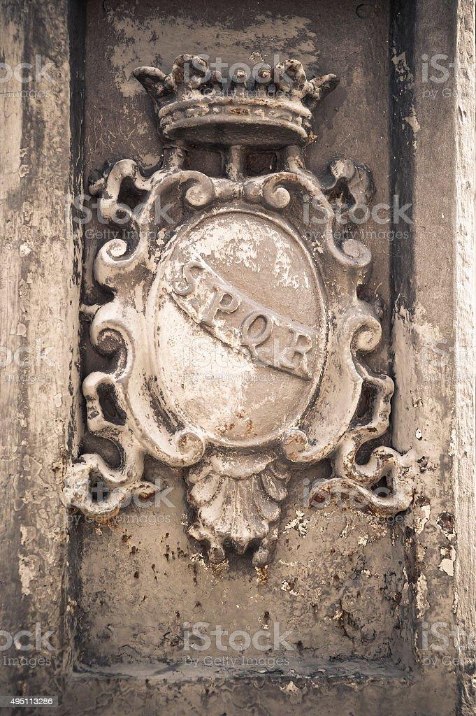 SPQR - Roman imperial symbol stock photo