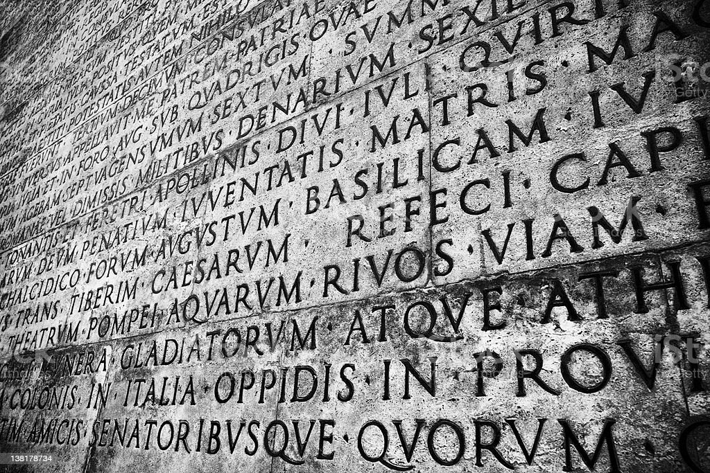 Roman Inscription for peace stock photo