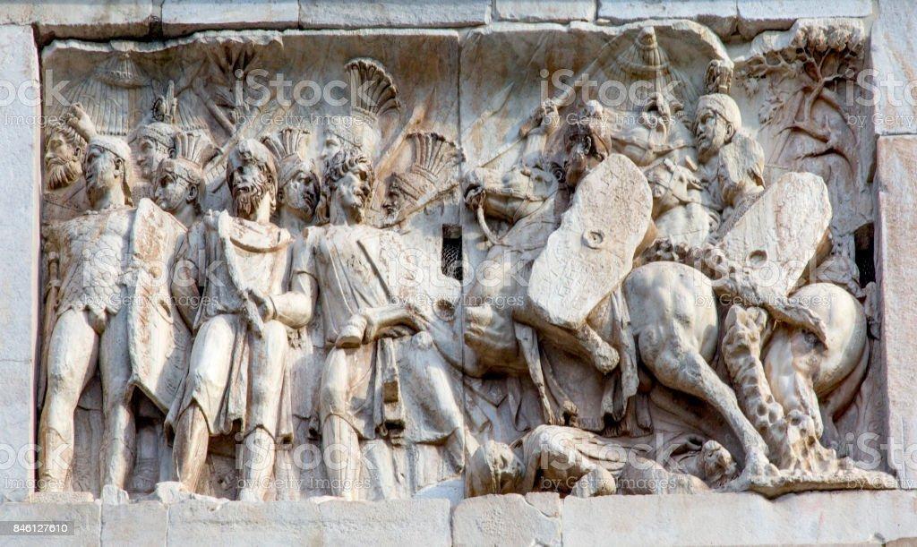 Militares de legionário romano batalha arco de Constantino-Roma Itália - foto de acervo