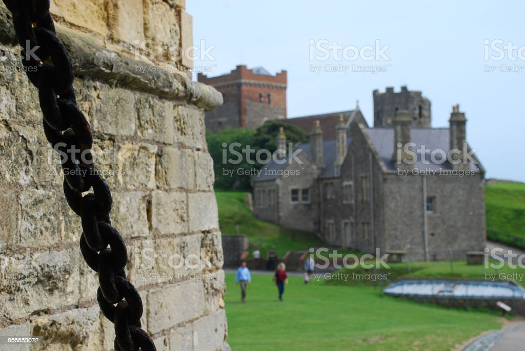 Roman Lighthouse and Anglo-Saxon church in Dover Castle, Kent stock photo