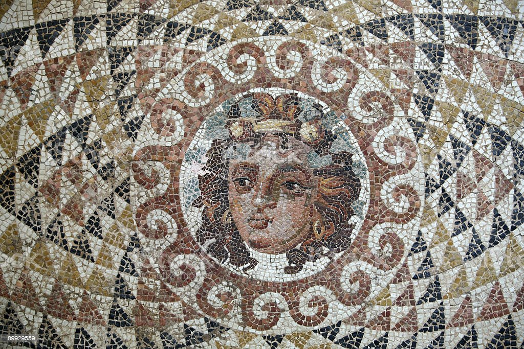 Roman Mosaic located in Ancient Corinth, Greece royalty-free stock photo