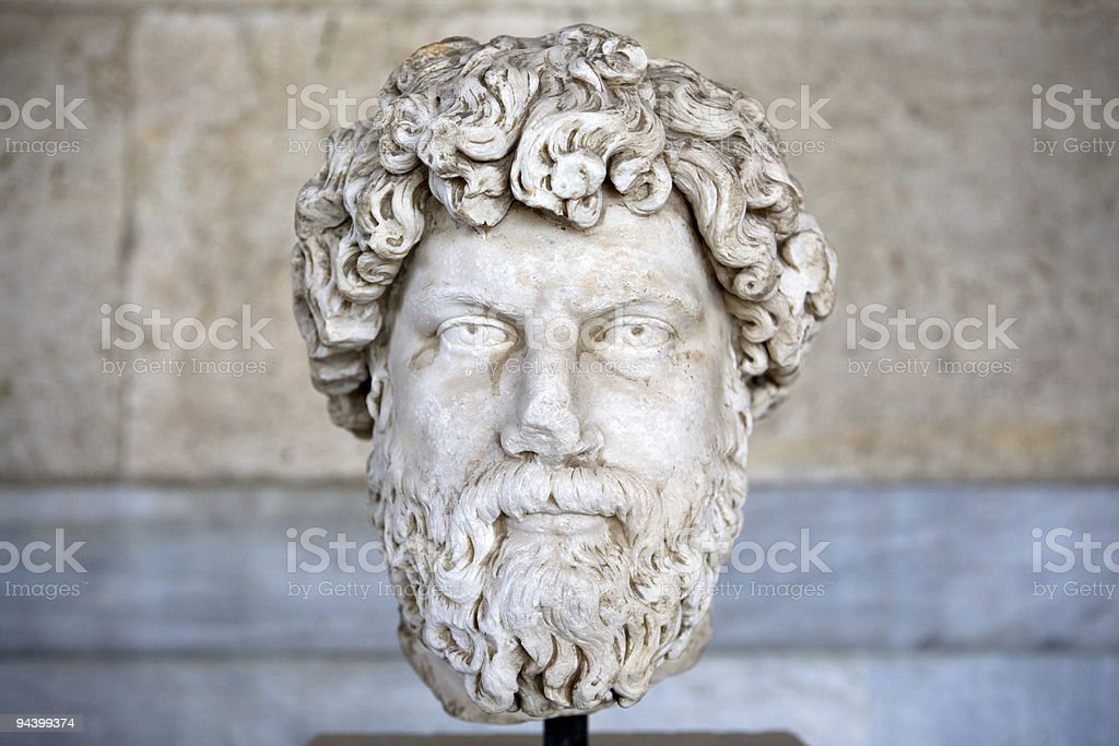 Roman nobleman marble bust in Athens, Greece stock photo