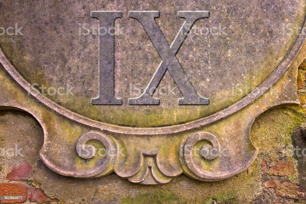 Roman number written on stucco wall - concept image stock photo