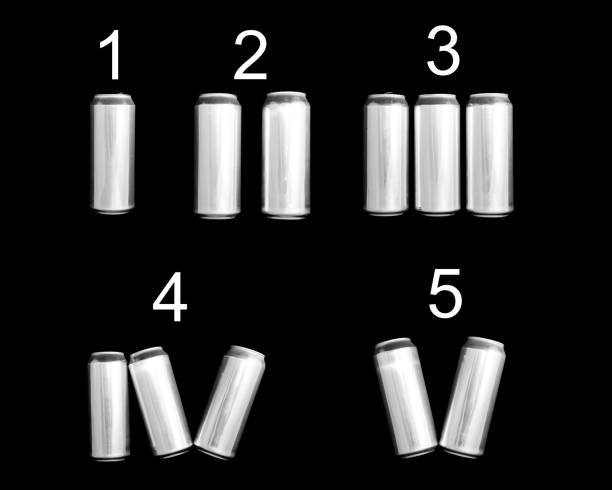 Roman numeral 1 2 3 4 5. Made of aluminum cans on a black background Isolated. Numbering one two three four five stock photo