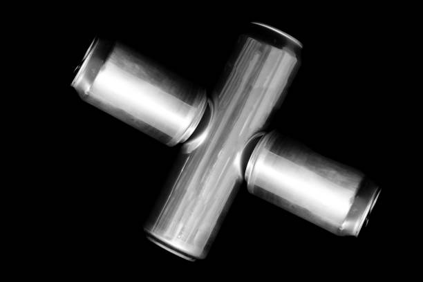 Roman numeral 10 Or X Made of aluminum cans on a black background Isolated Number Ten. Numbering stock photo