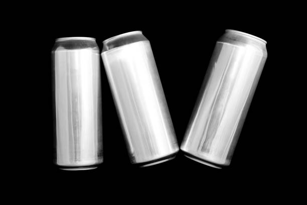 Roman numeral 4. Made of aluminum cans on a black background Isolated Number Four. Numbering stock photo