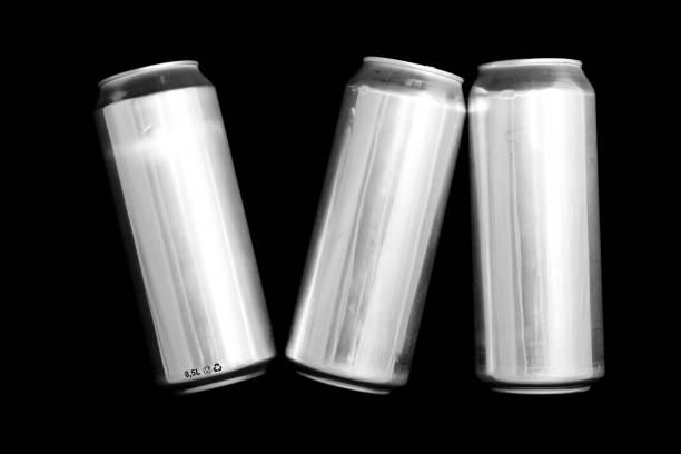 Roman numeral 6. Made of aluminum cans on a black background Isolated Number Six. Numbering stock photo