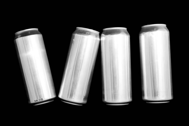 Roman numeral 7. Made of aluminum cans on a black background Isolated Number Seven. Numbering stock photo