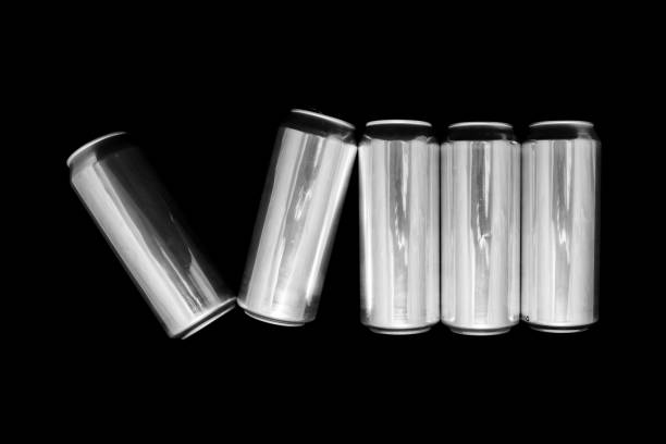 Roman numeral 8. Made of aluminum cans on a black background Isolated Number Eight. Numbering stock photo