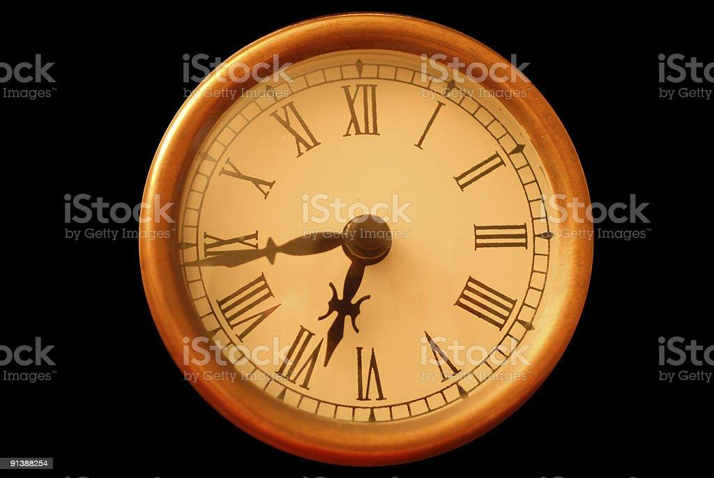 Roman Numeral clock (black isolation) royalty-free stock photo