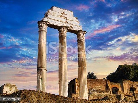 Roman temple pillar ruins in Rome, Italy.